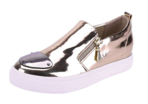 Cambridge Select Dames Gesloten Ronde Pet Neus Rits Slip-on Flatform Fashion Sneaker Roségoud