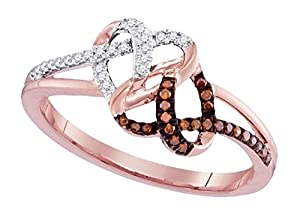 0.15 cttw 10k Rose Gold Brown Diamond Double Heart Shaped Infinity Ring, All Sizes