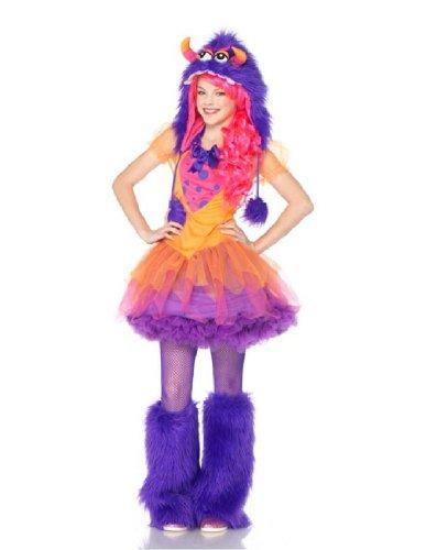 Furry Frankie Monster Costumes (Leg Avenue Junior's 2 Piece Furrrocious Frankie Furry Monster Costume, Orange/Purple, Medium/Large)