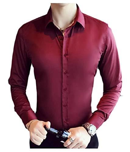 Sodossny-au Manches Longues Coupe Slim Classique Hommes Bouton Solide Vers Le Bas Des Chemises Habillées Vin Rouge