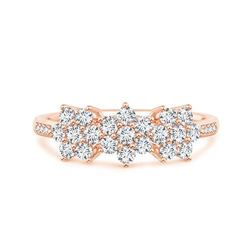 - Classic Round Lab Grown Diamond Triple Flower Ring in 14k Rose Gold