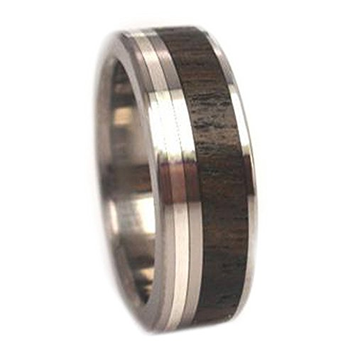 Ziricote Wood, 14K White Gold 7mm Comfort Fit Titanium Wedding Band, Size 15.5 by The Men's Jewelry Store (Unisex Jewelry)