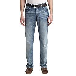 K-BOXING Men's Regular Straight-leg Fit Jeans Denim Blue Size 32W*32L
