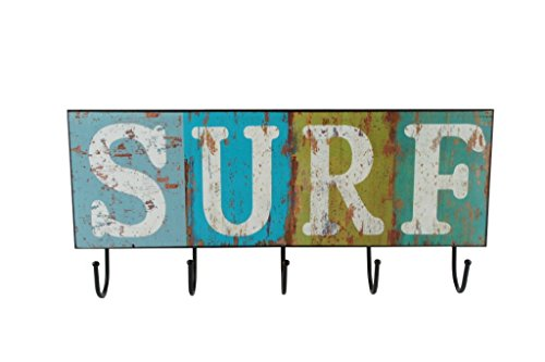 Surf Wall Rack with Five Cast Iron Hooks