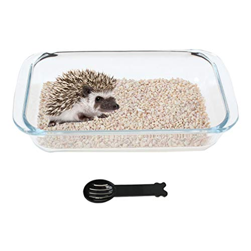 Emours Small Animal Clear Glass Toilet Tray for Hedgehog Squirrel Hamster Guinea Pigs and Other Small Animals with Scoop