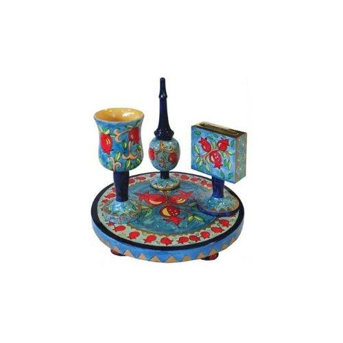 Yair Emanuel Painted Wood Havdalah Set with Pomegranates (Wood Havdalah Set)