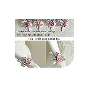 meiguiyuan Bridesmaid Wrist Flowers Handmade Wedding Corsages and Boutonnieres Brooch Artificial Rose Bride Groom Boutonniere Flower 102