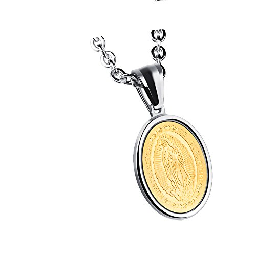 Unisex Mens Womens Guadalupe Medal Catholic Stainless Steel Oval Pendant Necklace High Polish