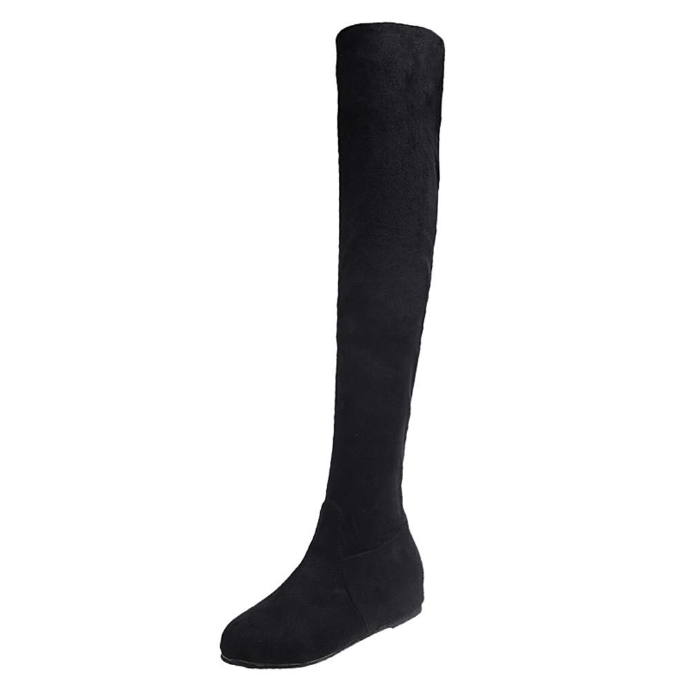 Women Knee Boots Winter,Women Winter Suede Slip-On Round Toe High Boots Over-The-Knee Shoes Martin Boots Amiley