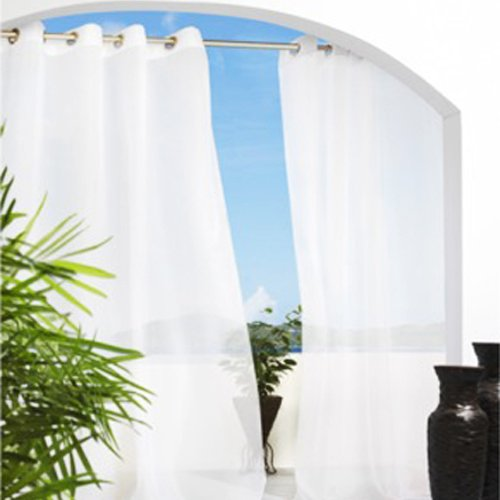 IYUEGO Country White Solid Indoor/Outdoor Grommet Top Window Sheer Grommet Top With Custom Multi Size 42″ W x 63″ L (One Panel)