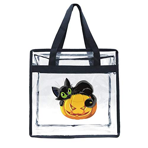 Eoyles gy Clear Bag Stadium Approved 12 x 6 x 12 Crossbody Transparent Purse Shoulder Handbag for Men Women Halloween Pumpkin with cat Zippered Security Bag for $<!--$19.58-->