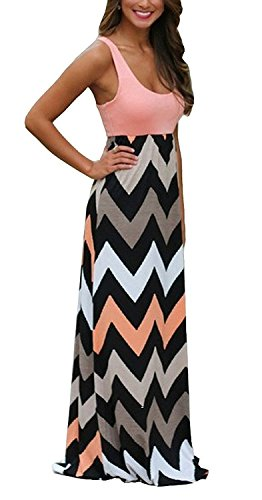 (Womens Zig Zag Scoop Neck Wave Striped Tank Maxi Long Dress (Small, Pink) )
