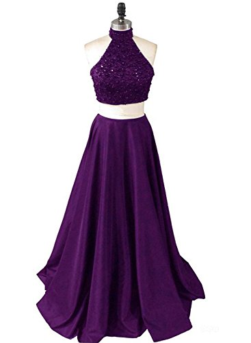 Bridesmaid Two Prom Beaded Fanciest Purple 2017 Pieces Dress Women's Long Dresses 8Fq8xZfw