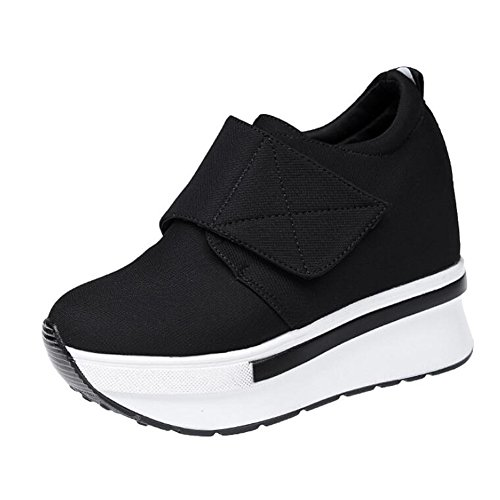 ANDAY Women Thick Sole Lightweight Elevator Shoes High Heel Flatform Sneakers Fitness Footwear Black GGyJb