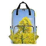 Backpack Laptop Bag Rape Flower Field Handbag Fits for 14 inch Computer/Notebook/Tablet, Adjustable Straps for Men Women Student Girls Boys Youth