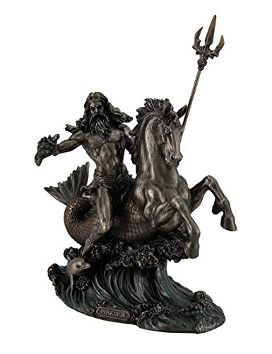 Resin Statues Poseidon Greek God Of The Sea Holding Trident On Hippocampus Bronzed Statue 8.5 X 8 X 4.5 Inches Bronze