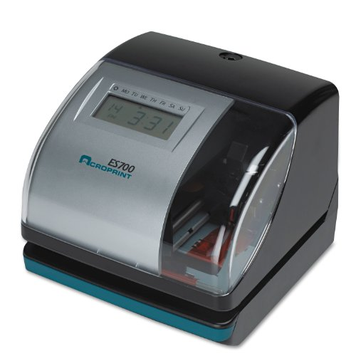 Acroprint 01-0182-000 Model ES700 Electronic Time Recorder, Internal Battery Backup Maintains Time Even During Power Outages, Accommodates Right or Left-hand Time Cards, Selectable Hour Format