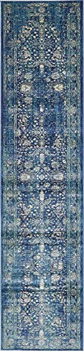 - Unique Loom Oslo Collection Traditional Botanical Navy Blue Runner Rug (3' x 13')