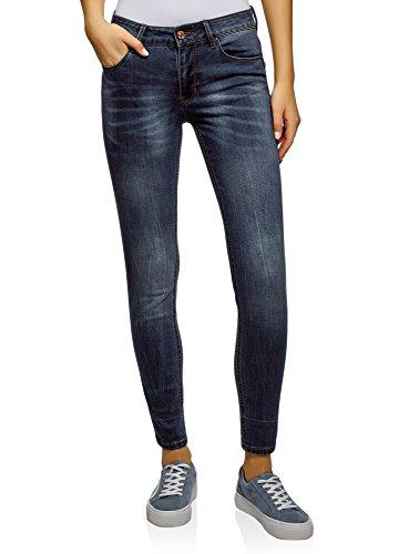 oodji Ultra Femme Jean Skinny Taille Moyenne Bleu (7900w)