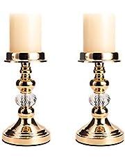 VINCIGANT 2pcs Iron Pillar Candle Holder Set