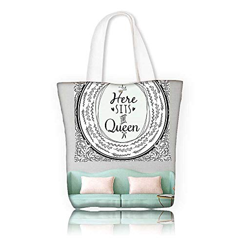 Reusable Cotton Canvas bag —W21.7 x H14 x D7 INCH/Tote Laptop Beach Handbags Quote Inspirational Wall Art Black and White Decoration Ideas for Decor Queen Design with Funny Theme Modern Bed M -