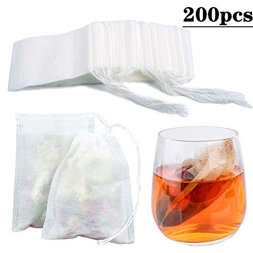 200pcs Tea Filter Bags Loose Leaf Tea Infuser Safety & Natural Material, 100% Unbleached Paper/Environmental Food Grade Drawstring Tea- Bags, 1- Cup Capacity- 3.15