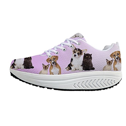 Animal Women's Casual Dog Fashion Sneaker DESIGNS Platform U FOR Platform Shoes 4 3D Wedges Printing afYYqIW