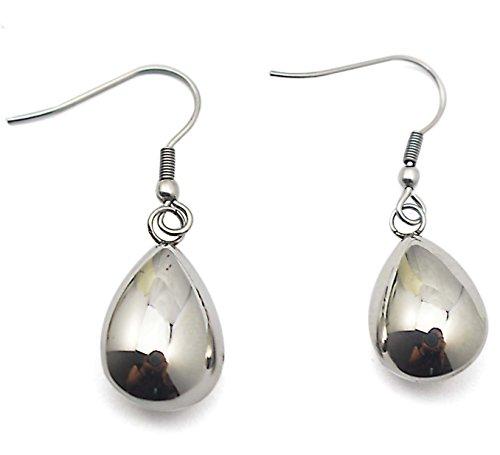 COUYA 316L Stainless Steel Waterdrop Dangle hook Earrings Silver Shiny Polished Teardrop Earrings Anti Allergic