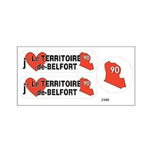 Tabla de pegatinas departamento A4 90 j'aime el territorio de Belfort