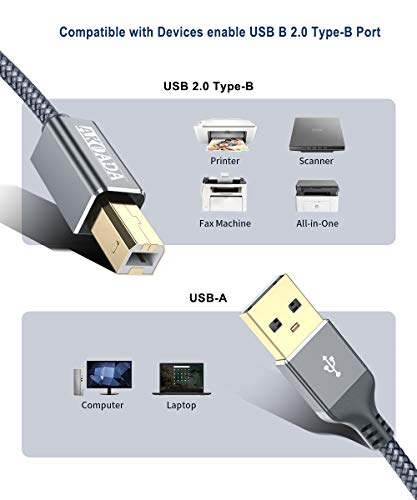 15ft USB 2.0 Extension /& 10ft A Male//B Male Cable for Epson WorkForce WF-3640 Printer