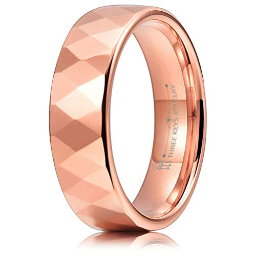 - THREE KEYS JEWELRY 6mm Multi-Faceted Rose Gold Tungsten Wedding Ring for Women Wedding Band Engagement Ring Size 9.5