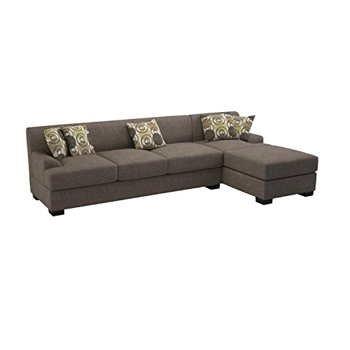 Bobkona Poundex Benford Collection Faux Linen Chaise Sofa, 2-Piece, Slate