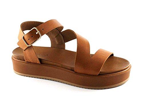 coco INUOVO 7320 sandalias de las mujeres de plataforma cruzada de cuero hebilla Marrone