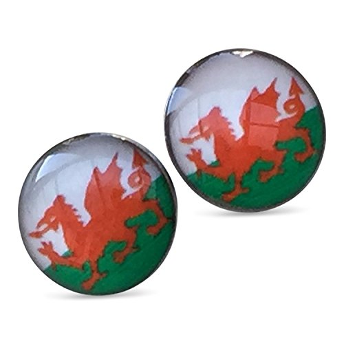 Wales 8mm Red Dragon Stainless Steel Earrings Wales Rugby Six Nations