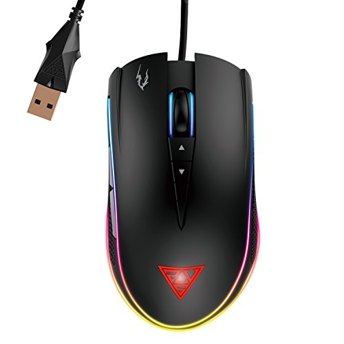 GAMDIAS Optical Gaming Mouse with Double RGB Streaming Light, HERA Software Supported, 8 Programmable keys, adjustable 1200 up to 7000 DPI, Weight Tunning System (ZEUS M1) by GAMDIAS