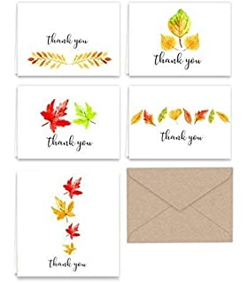 paper frenzy fall leaves thank you note cards kraft envelopes 25 pack