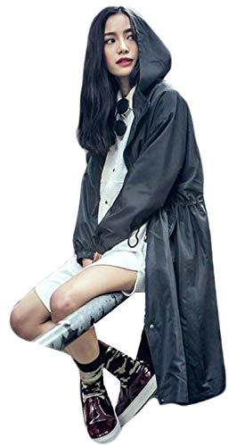 Eleganti Coulisse Coat Schwarz Con Fashion Mantello Donna Lunga Autunno Outerwear Especial Monocromo Estilo Cappuccio Primaverile Casuale Giacca 88 Bobo Manica cqHvWZy0Uz