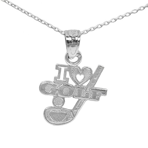 Ice on Fire Jewelry 14k White Gold Golf Pendant Necklace (No Chain)