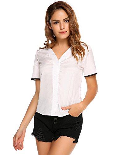 Meaneor Damen V-Ausschnitte Bluse Kurzarm Shirt Sommer Top Faltenwurf Oberteil mit Spitze causal lose Bluse Weiß T-Shirt XXL