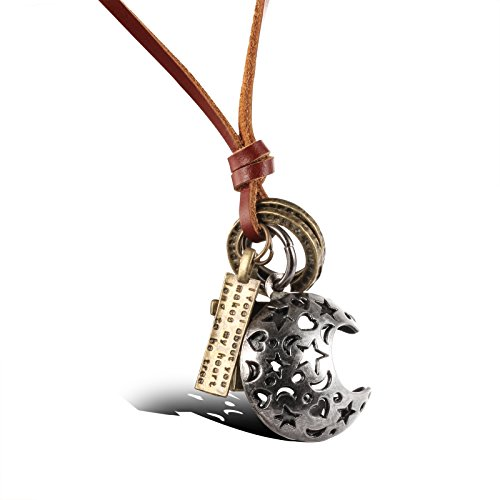 Fashion Jewellery Vintage Alloy Moon Long Brown Cowhide Leather Cord Pendant Necklace for Mens/Womens Adjustable