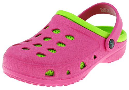 Capelli New York Girls Two Tone Injected Eva Clog with Backstrap and Contrasting Sock Lime ()