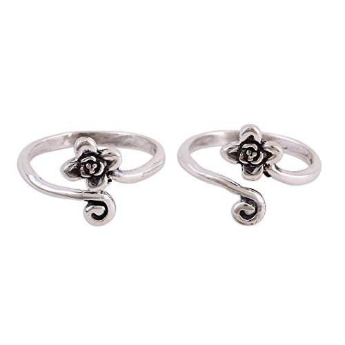 NOVICA .925 Sterling Silver Set of 2 Adjustable Floral Toe Rings, Flower and Swirl' (pair) ()