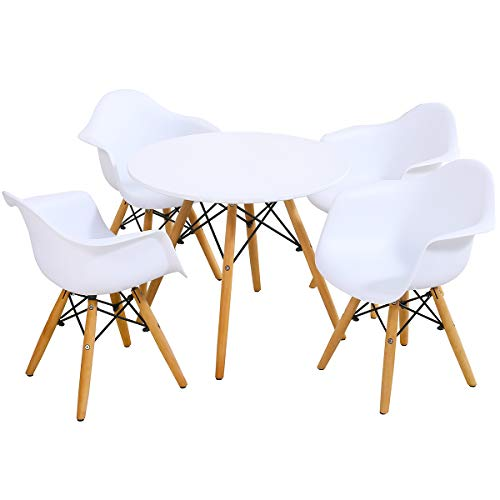 Costzon Kids Mid-Century Modern Style Table Set, Kids Table and Chair Set, Round Table with Armchairs for Toddler Children, Kids Dining Table and Chair Set (White, Table & 4 Chairs)