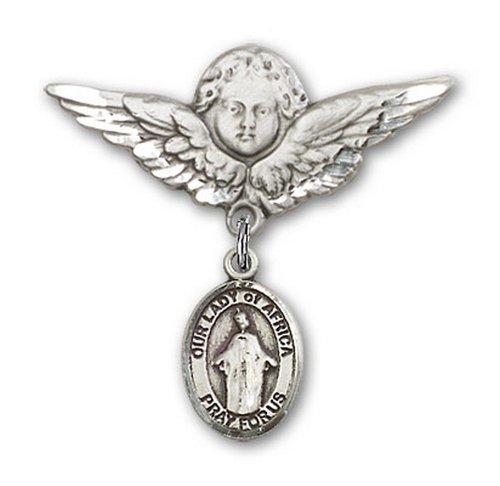 Icecarats Créatrice De Bijoux En Argent Sterling O / L De L'Afrique Charme Ange Broche De Badge 1 1/8 X 1 1/8