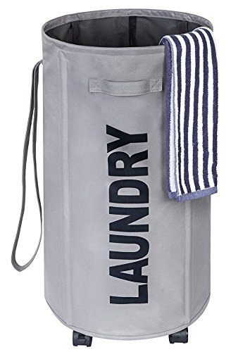 Chrislley Large Laundry Basket on Wheels Tall Round Rolling Laundry Hamper with Belt and Handle Foldable Laundry Bin Collapsible Laundry Collector and Organizer 61.5L (Gray)