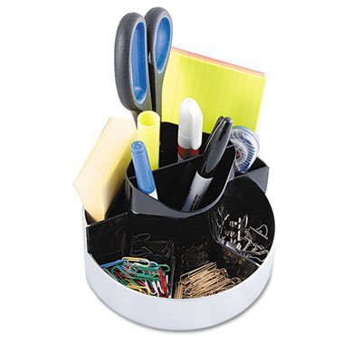KANTEK INC.Rotating Desk Organizer, Plastic, 6 x 5 3/4 x 4 1/2, Black/Silver (4 Pack)