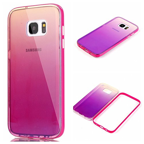 AIIYG DS(TM) Samsung Galaxy S7 Edge, G9350 Gradient Color Mirror Soft TPU Case with Shockproof PC Bumper for S7 Edge (Rose) (Tpu Edges)