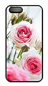 Armener Black Sides Hard Shell Skin Protector Cover for iPhone 5 5S With Light Pink Roses