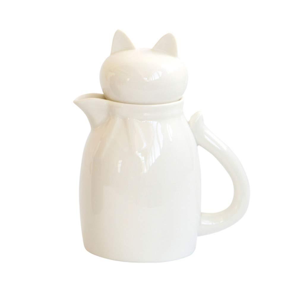 blanc MASSJOY Pichet /à lait en c/éramique avec manche en queue de chat avec couvercle /à t/ête de chat 45 g
