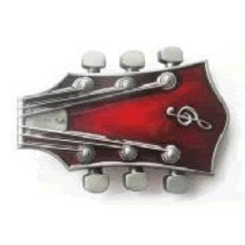 Guitar Head Red Belt Buckle
